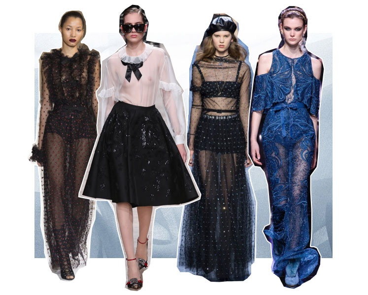 Christian Dior ready-to-wear fw 2017, fall winter 2017 Rochas, Dress Elie Saab fw 2017-2018, Giambattista Valli dress