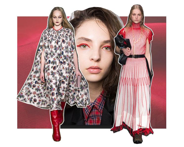 показ Alexander McQueen в Париже, макияж модели Wunderkind, collection Valentino fw2017